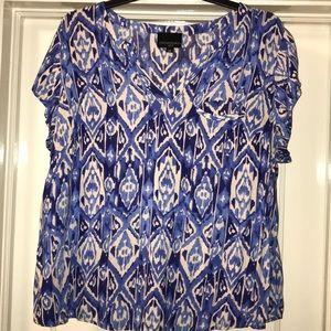 Cynthia Rowley Blue Print Chest Pocket Blouse